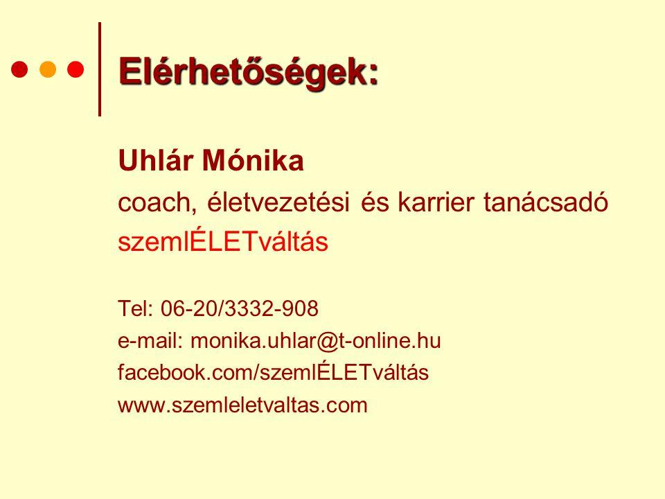 Elérhetőségek: Uhlár Mónika coach, életvezetési és karrier tanácsadó szemlÉLETváltás Tel: 06-20/3332-908 e-mail: monika.uhlar@t-online.hu facebook.com
