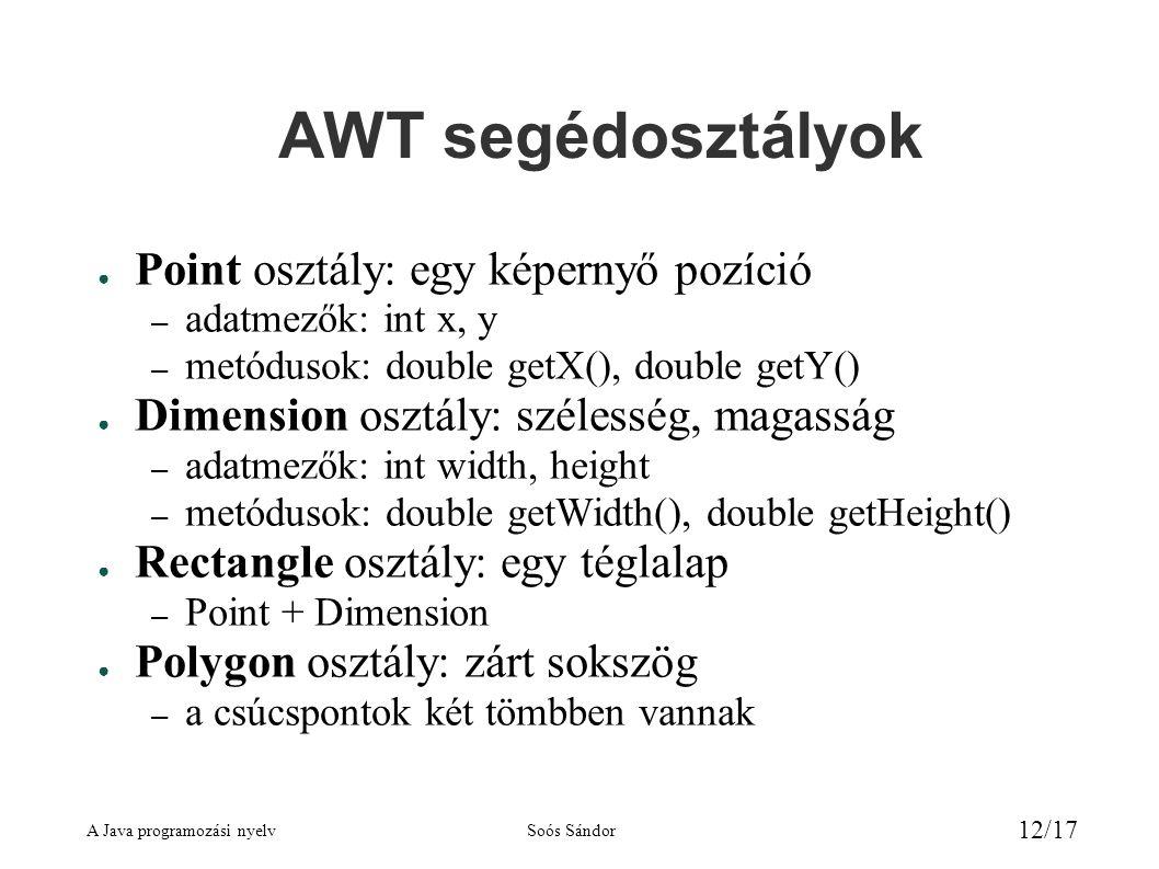A Java programozási nyelvSoós Sándor 12/17 AWT segédosztályok ● Point osztály: egy képernyő pozíció – adatmezők: int x, y – metódusok: double getX(), double getY() ● Dimension osztály: szélesség, magasság – adatmezők: int width, height – metódusok: double getWidth(), double getHeight() ● Rectangle osztály: egy téglalap – Point + Dimension ● Polygon osztály: zárt sokszög – a csúcspontok két tömbben vannak