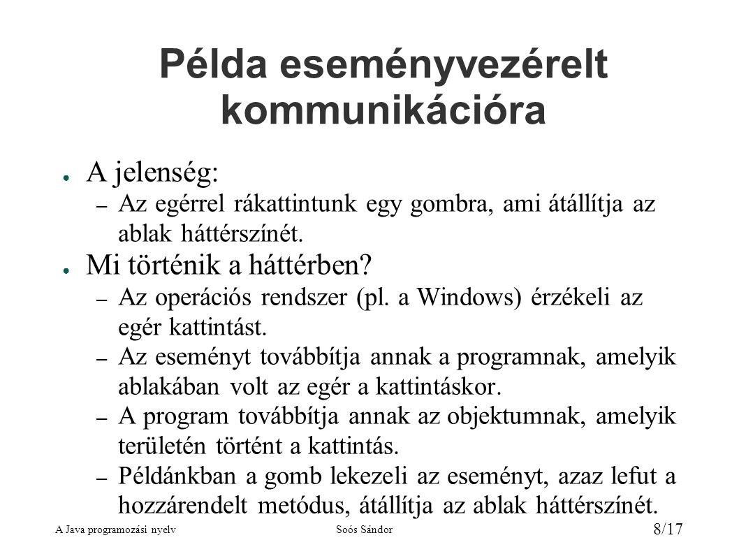 A Java programozási nyelvSoós Sándor 8/17 Példa eseményvezérelt kommunikációra ● A jelenség: – Az egérrel rákattintunk egy gombra, ami átállítja az ablak háttérszínét.