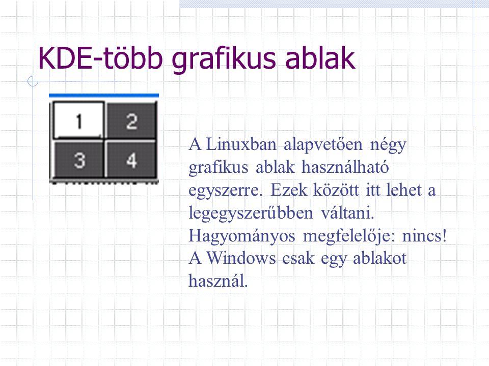 KDE-több grafikus ablak A Linuxban alapvetően négy grafikus ablak használható egyszerre. Ezek között itt lehet a legegyszerűbben váltani. Hagyományos