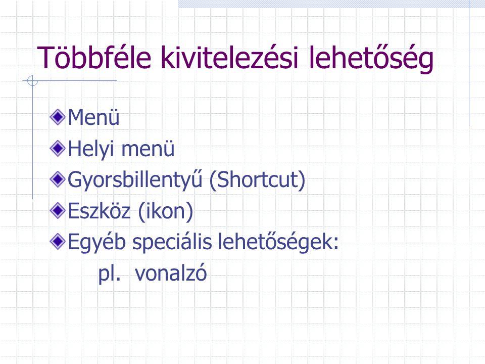 Többféle kivitelezési lehetőség Menü Helyi menü Gyorsbillentyű (Shortcut) Eszköz (ikon) Egyéb speciális lehetőségek: pl. vonalzó