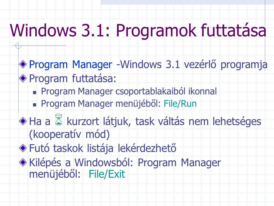 Windows 3.1: Programok futtatása Program Manager -Windows 3.1 vezérlő programja Program futtatása:  Program Manager csoportablakaiból ikonnal  Progr