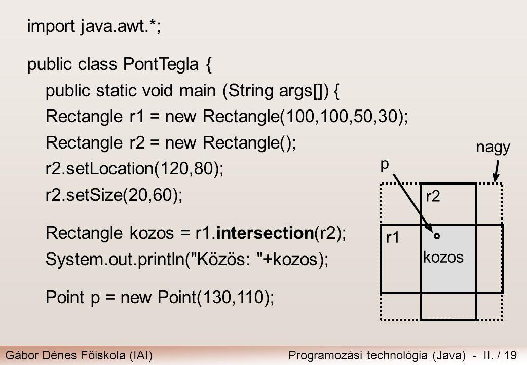 Gábor Dénes Főiskola (IAI)Programozási technológia (Java) - II. / 19 import java.awt.*; public class PontTegla { public static void main (String args[