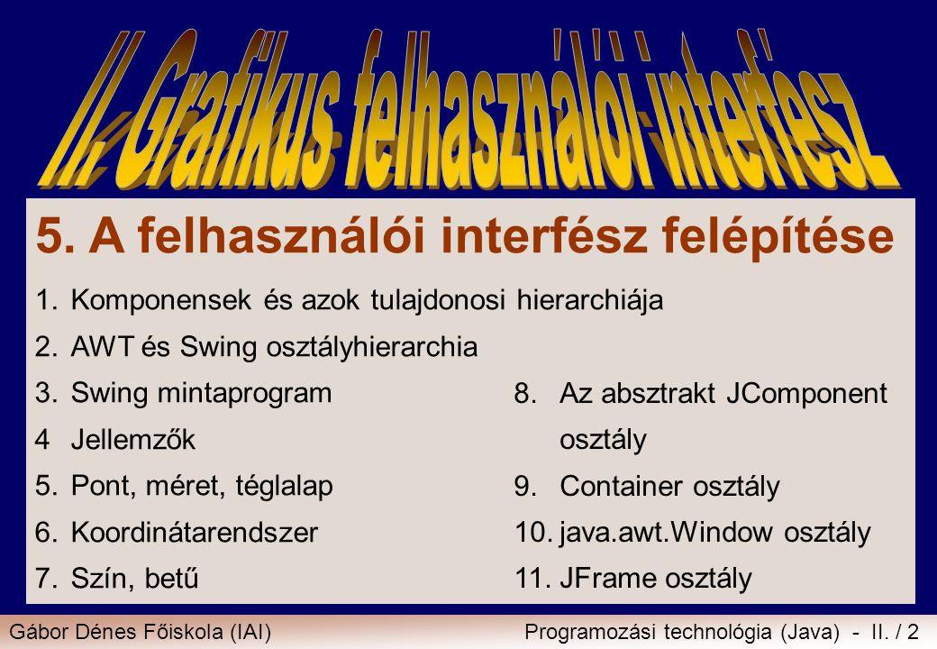 Gábor Dénes Főiskola (IAI)Programozási technológia (Java) - II. / 2 5. A felhasználói interfész felépítése 1.Komponensek és azok tulajdonosi hierarchi