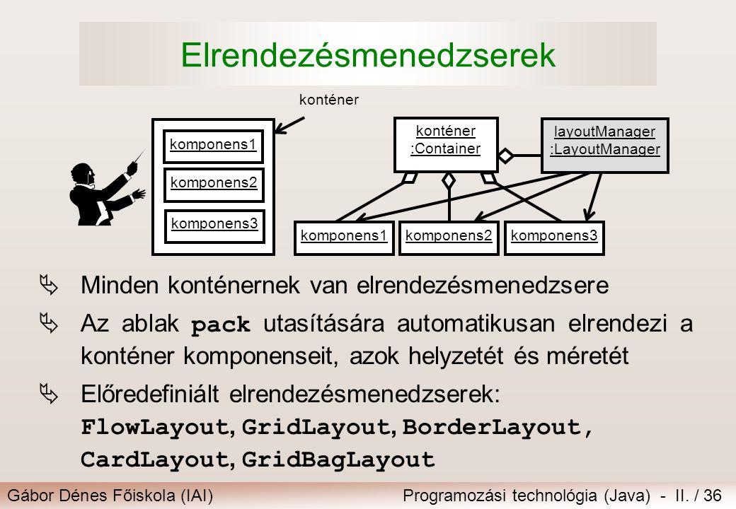 Gábor Dénes Főiskola (IAI)Programozási technológia (Java) - II. / 36 Elrendezésmenedzserek  Minden konténernek van elrendezésmenedzsere  Az ablak pa
