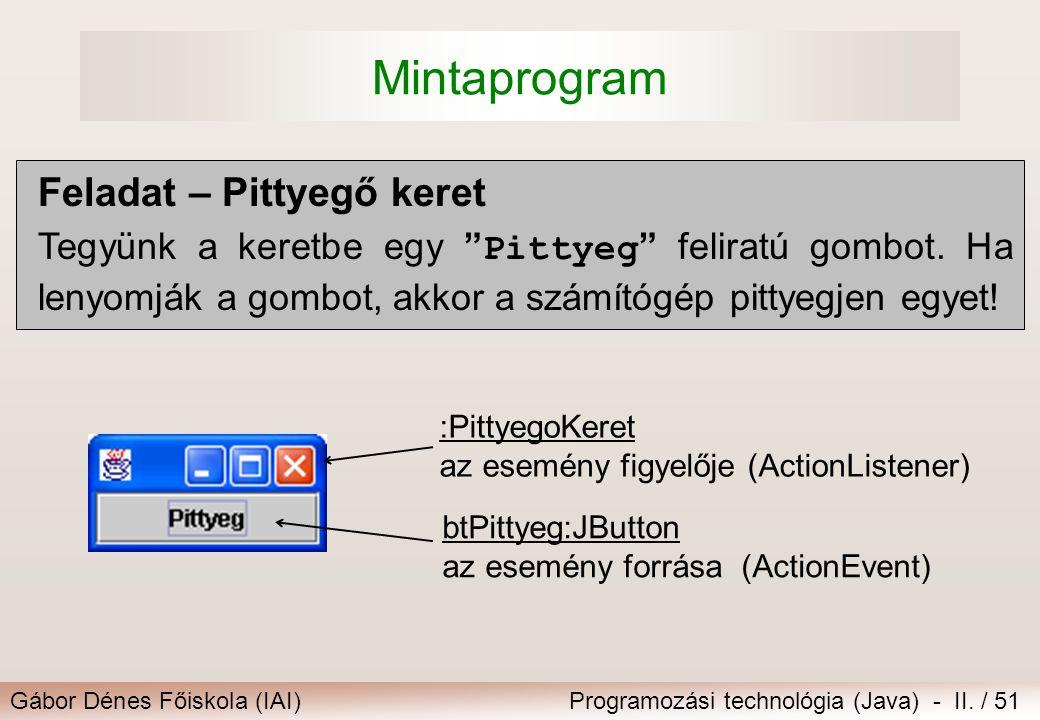 """Gábor Dénes Főiskola (IAI)Programozási technológia (Java) - II. / 51 Mintaprogram Feladat – Pittyegő keret Tegyünk a keretbe egy """" Pittyeg """" feliratú"""
