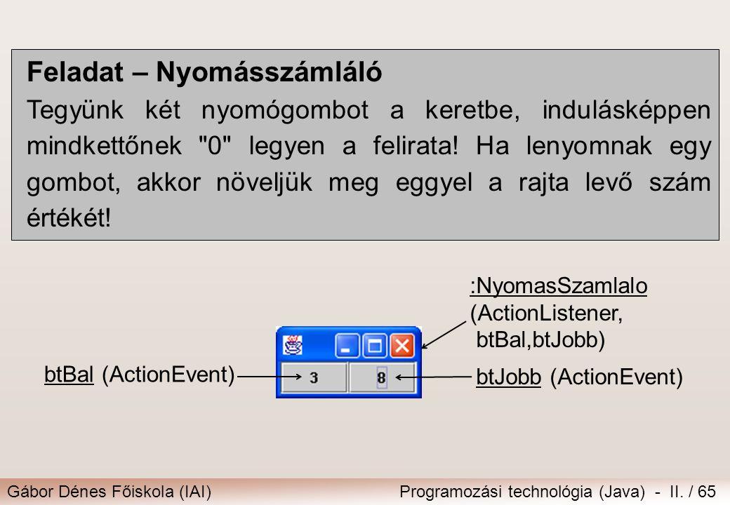 Gábor Dénes Főiskola (IAI)Programozási technológia (Java) - II. / 65 Feladat – Nyomásszámláló Tegyünk két nyomógombot a keretbe, indulásképpen mindket
