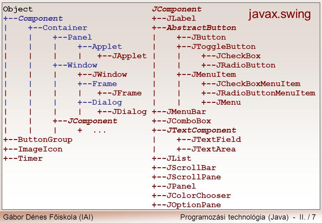 Gábor Dénes Főiskola (IAI)Programozási technológia (Java) - II. / 7 JComponent +--JLabel +--AbstractButton | +--JButton | +--JToggleButton | | +--JChe