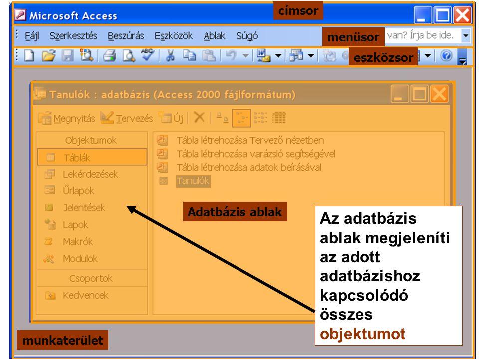 menüsor címsor eszközsor munkaterület Adatbázis ablak Az adatbázis ablak megjeleníti az adott adatbázishoz kapcsolódó összes objektumot