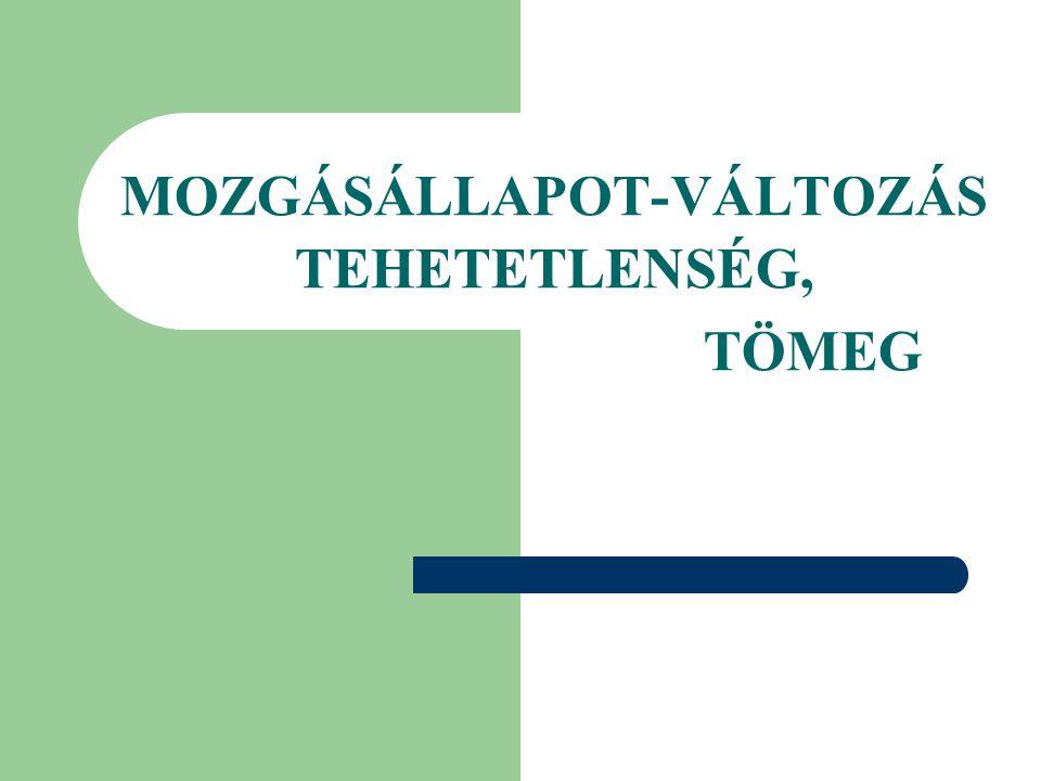 MOZGÁSÁLLAPOT-VÁLTOZÁS TEHETETLENSÉG, TÖMEG
