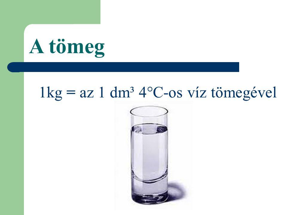 1kg = az 1 dm³ 4°C-os víz tömegével A tömeg