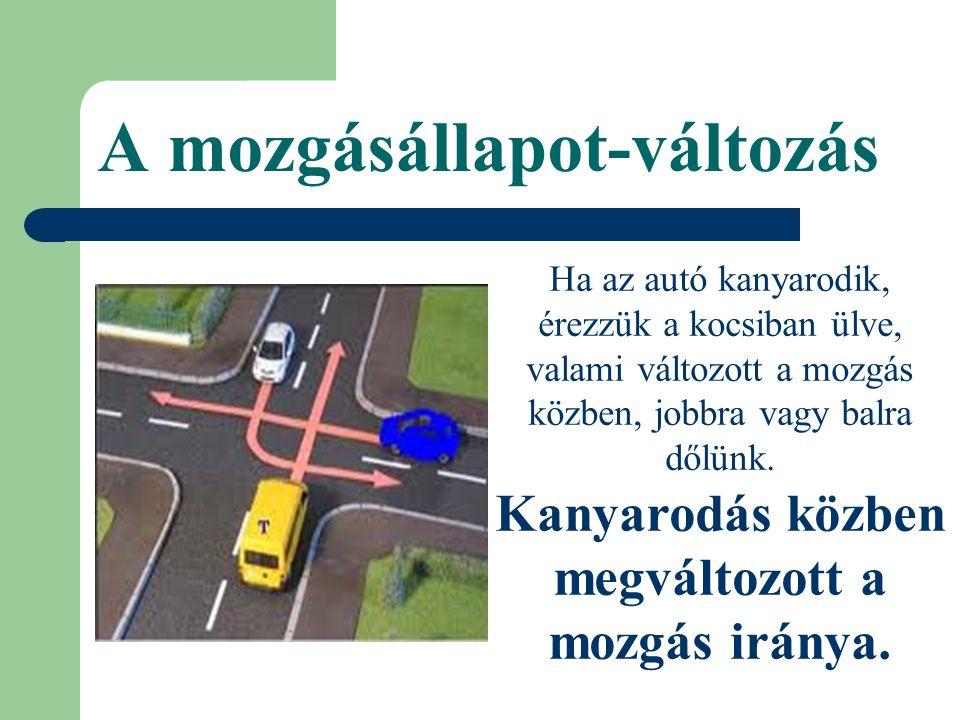 A mozgásállapot-változás Ha az autó kanyarodik, érezzük a kocsiban ülve, valami változott a mozgás közben, jobbra vagy balra dőlünk. Kanyarodás közben