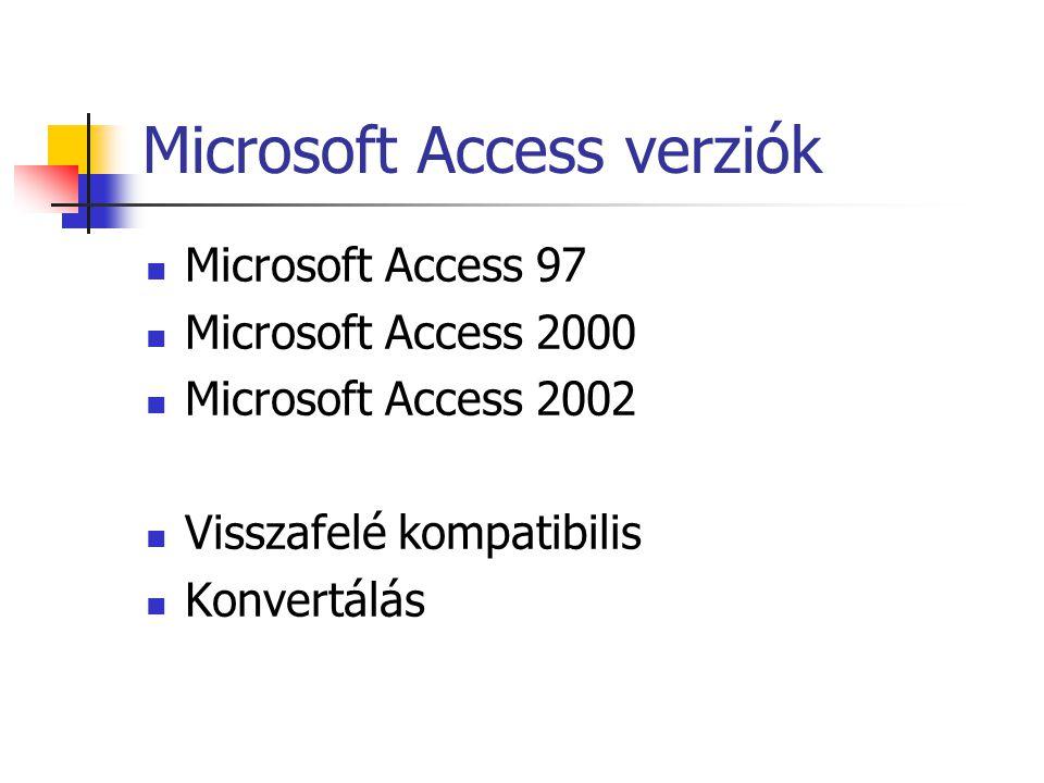 Microsoft Access verziók  Microsoft Access 97  Microsoft Access 2000  Microsoft Access 2002  Visszafelé kompatibilis  Konvertálás
