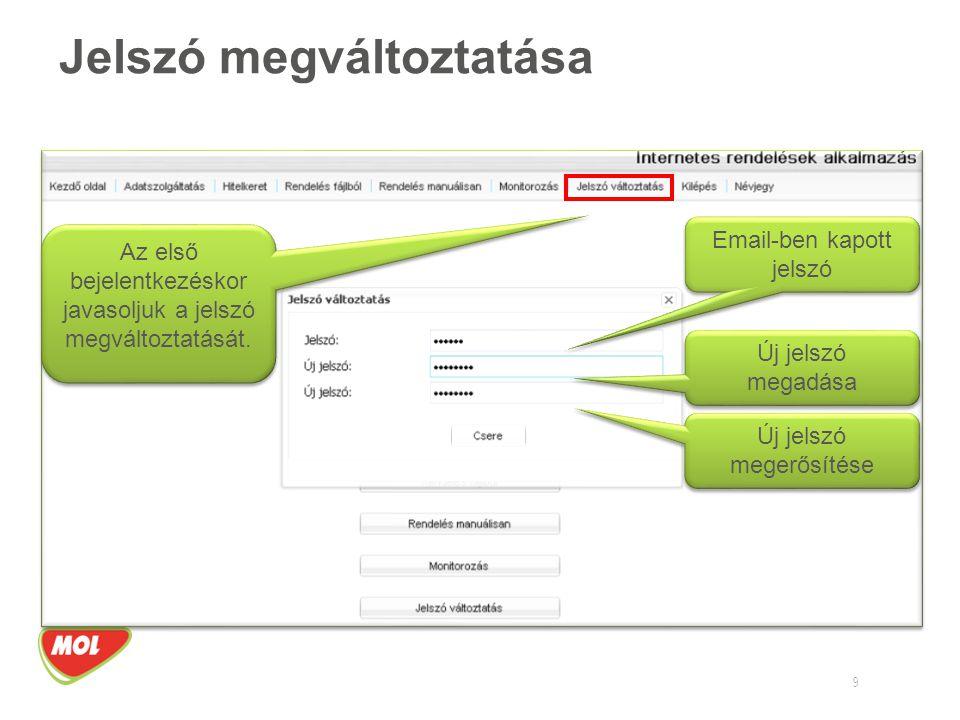 Jelszó megváltoztatása 9 Az első bejelentkezéskor javasoljuk a jelszó megváltoztatását. Email-ben kapott jelszó Új jelszó megadása Új jelszó megerősít