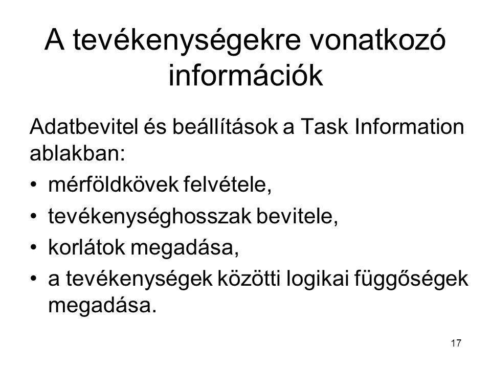 A tevékenységekre vonatkozó információk Adatbevitel és beállítások a Task Information ablakban: •mérföldkövek felvétele, •tevékenységhosszak bevitele,
