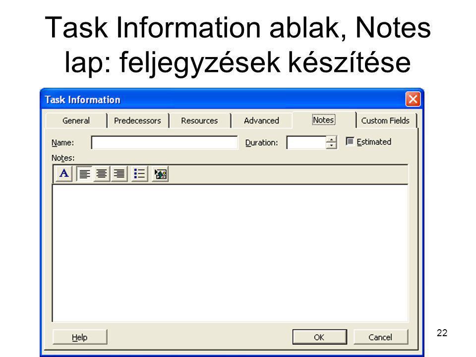 Task Information ablak, Notes lap: feljegyzések készítése 22
