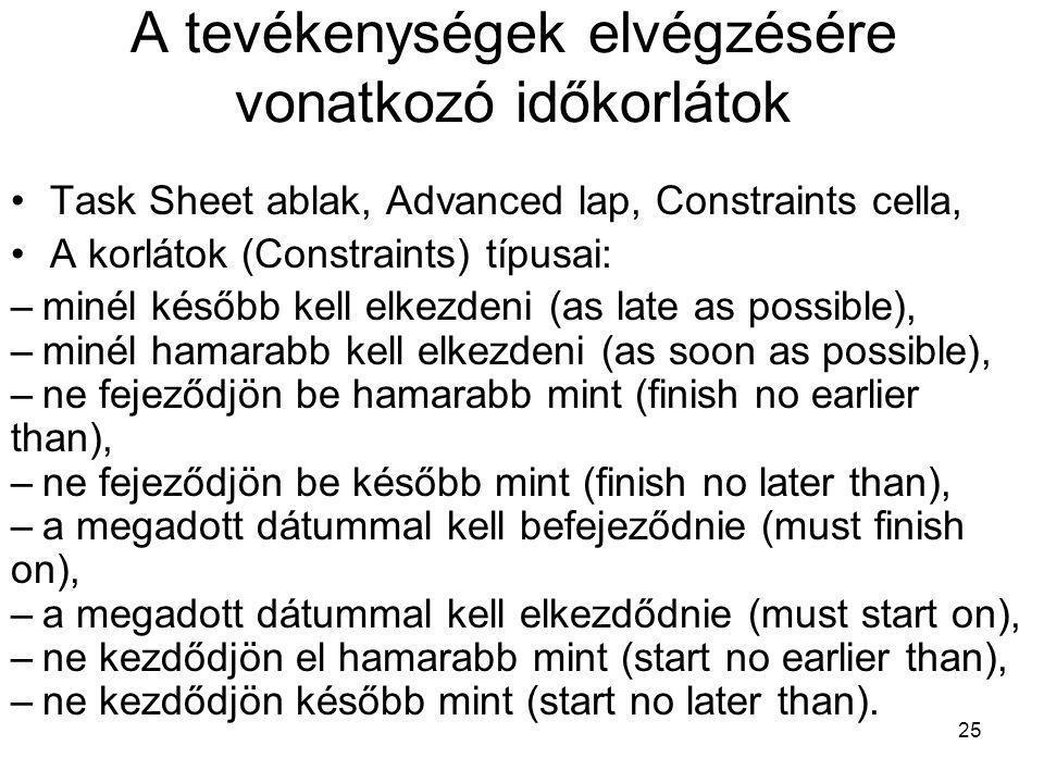 A tevékenységek elvégzésére vonatkozó időkorlátok •Task Sheet ablak, Advanced lap, Constraints cella, •A korlátok (Constraints) típusai: –minél később