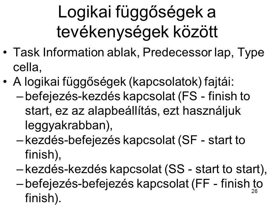 Logikai függőségek a tevékenységek között •Task Information ablak, Predecessor lap, Type cella, •A logikai függőségek (kapcsolatok) fajtái: –befejezés