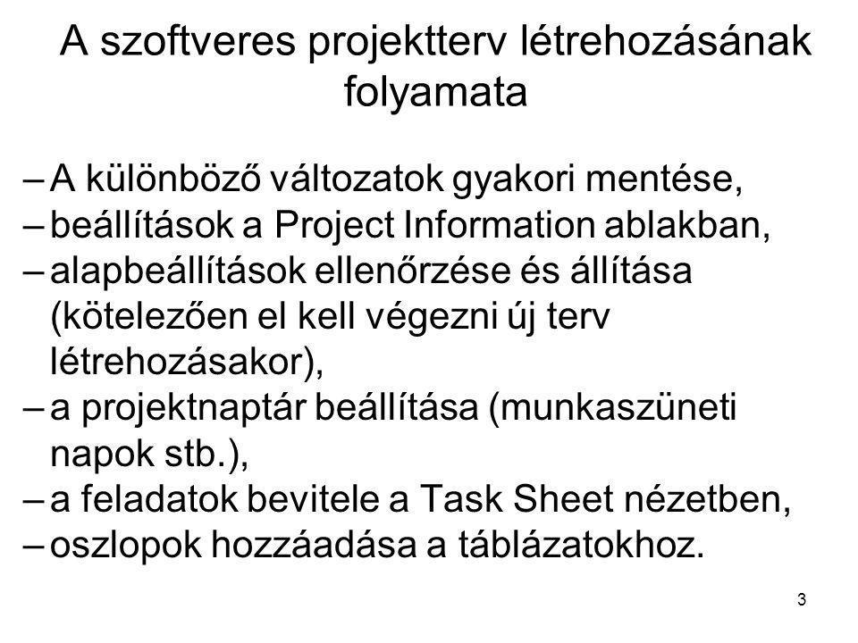 A szoftveres projektterv létrehozásának folyamata –A különböző változatok gyakori mentése, –beállítások a Project Information ablakban, –alapbeállítás