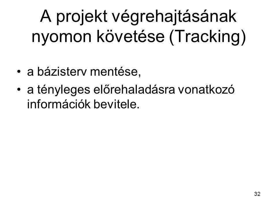 A projekt végrehajtásának nyomon követése (Tracking) •a bázisterv mentése, •a tényleges előrehaladásra vonatkozó információk bevitele. 32