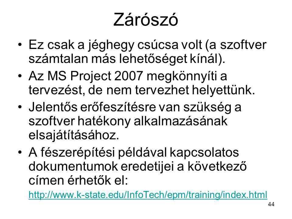 Zárószó •Ez csak a jéghegy csúcsa volt (a szoftver számtalan más lehetőséget kínál). •Az MS Project 2007 megkönnyíti a tervezést, de nem tervezhet hel