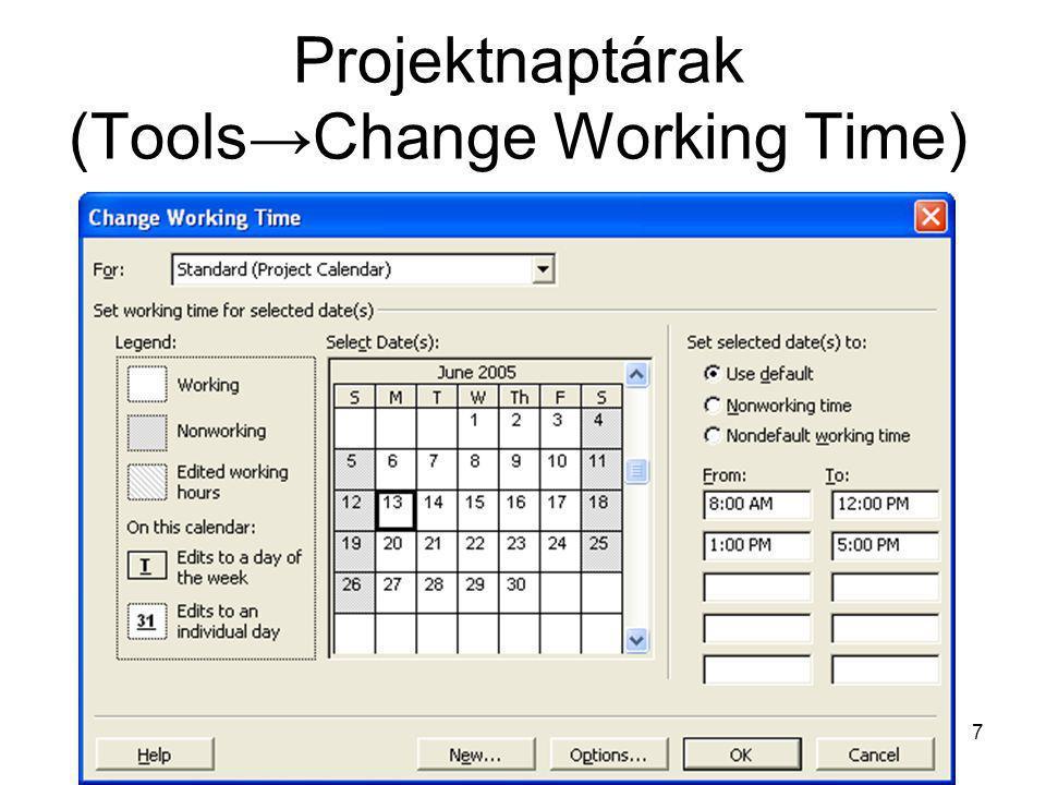 Nézet (View) kiválasztása és oszlop hozzáadása •Task Sheet nézet (View → More Views → Task Sheet view), •oszlopok megjelenítése és eltüntetése szükség szerint, •a következő oszlopok megjelenítése tanácsos: –a feladat neve (Task Name) –a feladat elvégzettségének szintje (% Complete) –a feladat hossza, becsült időtartama (Duration), –a tervezett munka mennyisége (Work), –kezdő dátum (Start), –befejezési dátum (Finish), –erőforrások (Resources).