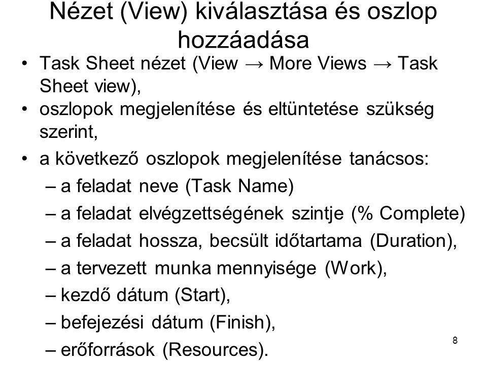 Nézet (View) kiválasztása és oszlop hozzáadása •Task Sheet nézet (View → More Views → Task Sheet view), •oszlopok megjelenítése és eltüntetése szükség