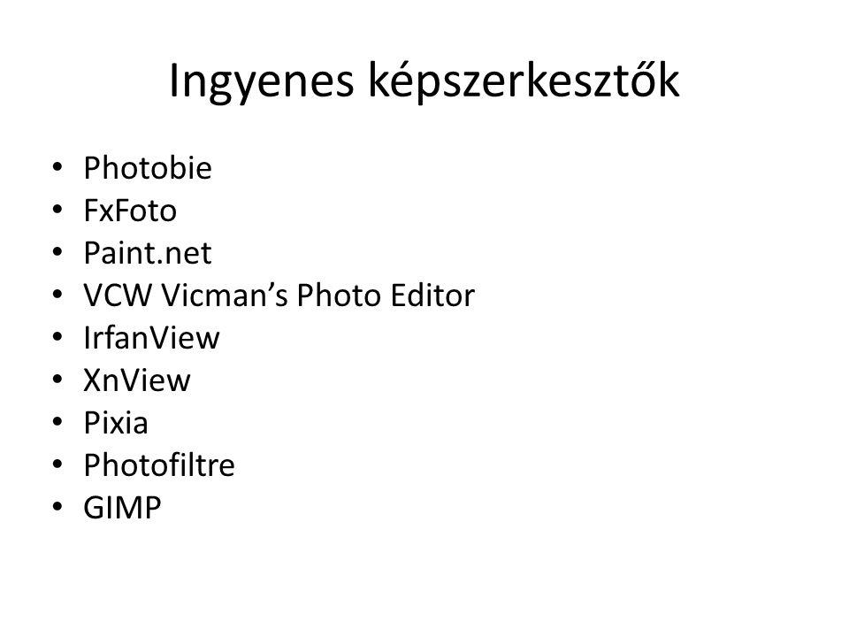 Ingyenes képszerkesztők • Photobie • FxFoto • Paint.net • VCW Vicman's Photo Editor • IrfanView • XnView • Pixia • Photofiltre • GIMP