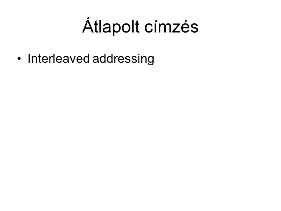 Átlapolt címzés •Interleaved addressing