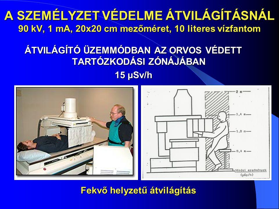 A SZEMÉLYZET VÉDELME ÁTVILÁGÍTÁSNÁL 90 kV, 1 mA, 20x20 cm mezőméret, 10 literes vízfantom ÁTVILÁGÍTÓ ÜZEMMÓDBAN AZ ORVOS VÉDETT TARTÓZKODÁSI ZÓNÁJÁBAN