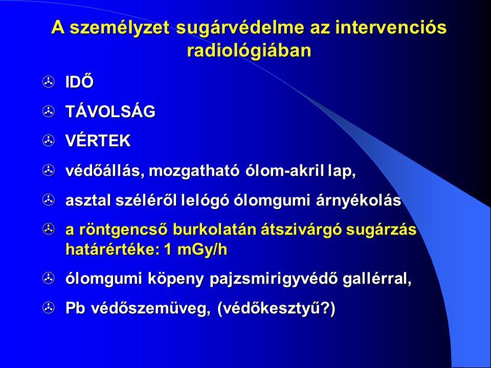 A személyzet sugárvédelme az intervenciós radiológiában  IDŐ  TÁVOLSÁG  VÉRTEK  védőállás, mozgatható ólom-akril lap,  asztal széléről lelógó ólo