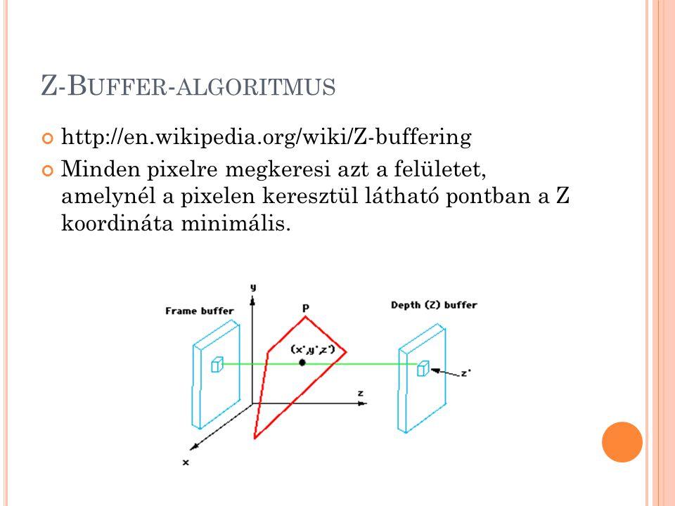 Z-B UFFER - ALGORITMUS http://en.wikipedia.org/wiki/Z-buffering Minden pixelre megkeresi azt a felületet, amelynél a pixelen keresztül látható pontban a Z koordináta minimális.