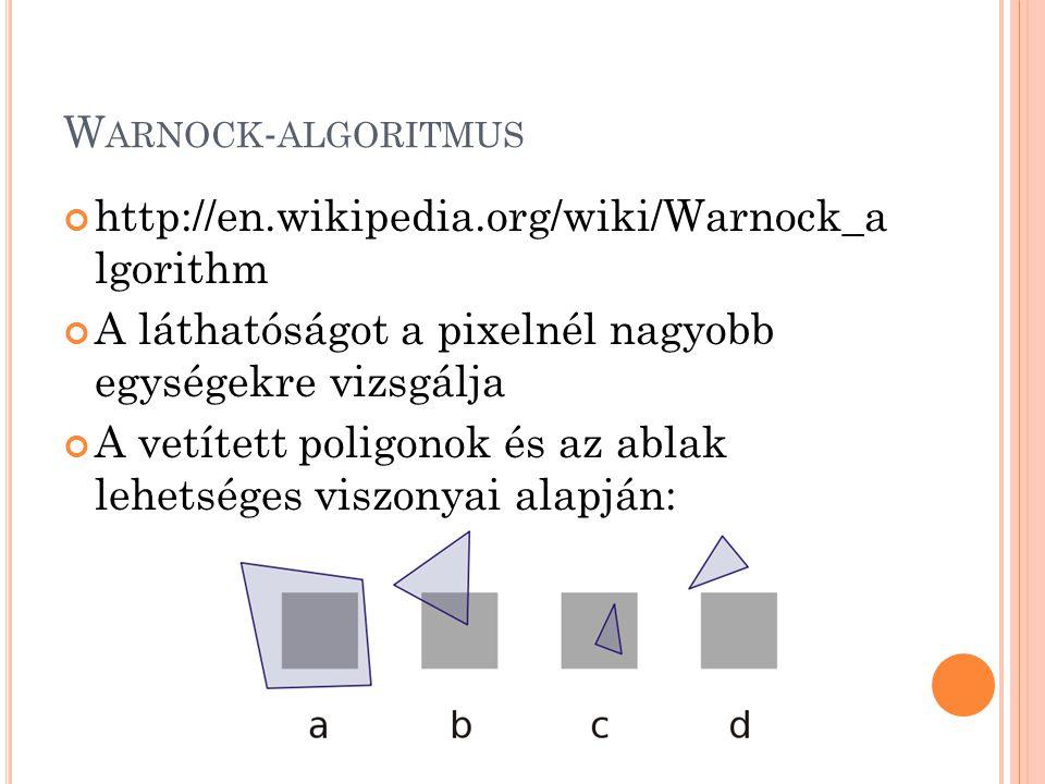 W ARNOCK - ALGORITMUS http://en.wikipedia.org/wiki/Warnock_a lgorithm A láthatóságot a pixelnél nagyobb egységekre vizsgálja A vetített poligonok és az ablak lehetséges viszonyai alapján: