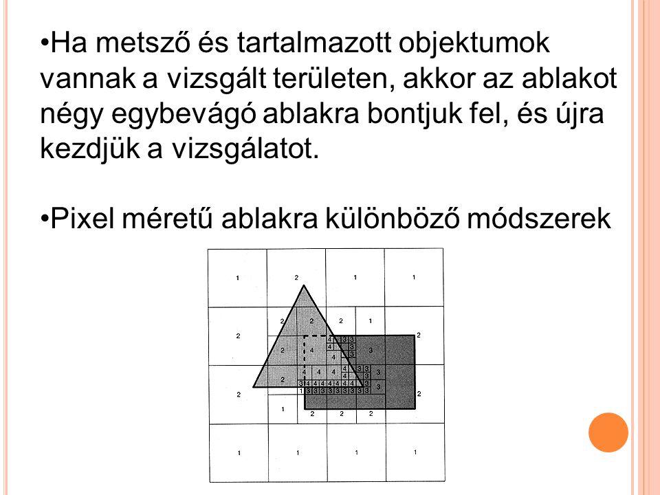 •Ha metsző és tartalmazott objektumok vannak a vizsgált területen, akkor az ablakot négy egybevágó ablakra bontjuk fel, és újra kezdjük a vizsgálatot.
