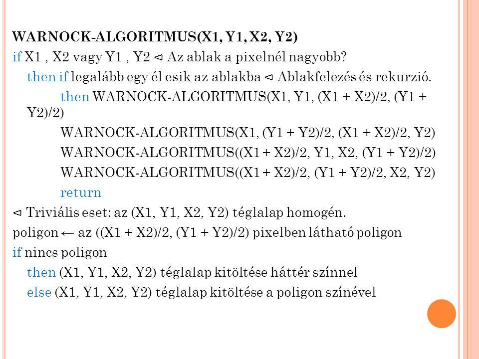 WARNOCK-ALGORITMUS(X1, Y1, X2, Y2) if X1, X2 vagy Y1, Y2 ⊲ Az ablak a pixelnél nagyobb? then if legalább egy él esik az ablakba ⊲ Ablakfelezés és reku