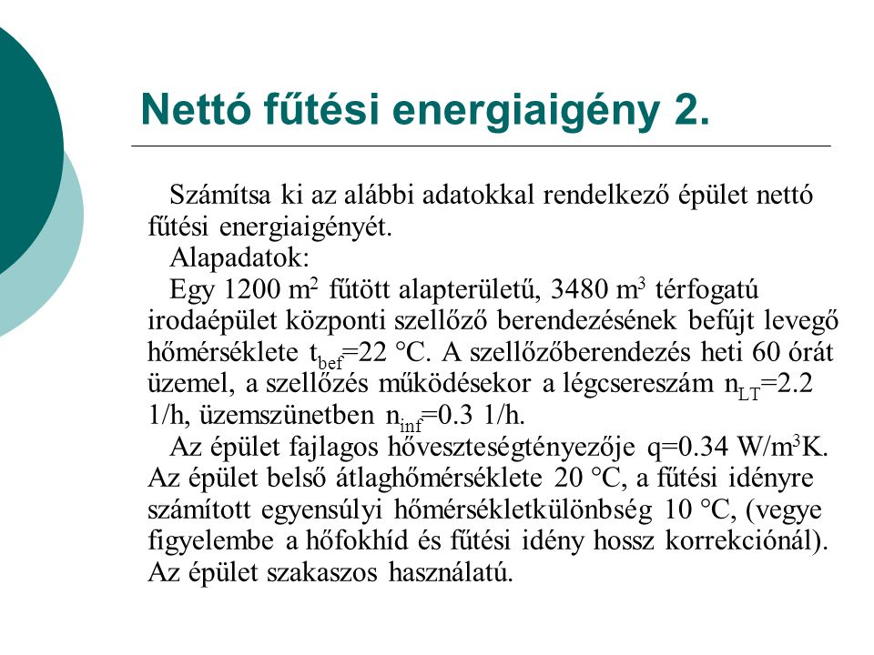 A nettó fűtési energiaigény