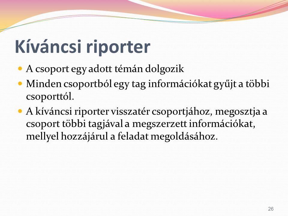 Kíváncsi riporter  A csoport egy adott témán dolgozik  Minden csoportból egy tag információkat gyűjt a többi csoporttól.  A kíváncsi riporter vissz