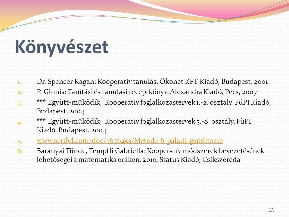 Könyvészet 1. Dr. Spencer Kagan: Kooperatív tanulás, Ökonet KFT Kiadó, Budapest, 2001 2. P. Ginnis: Tanítási és tanulási receptkönyv, Alexandra Kiadó,