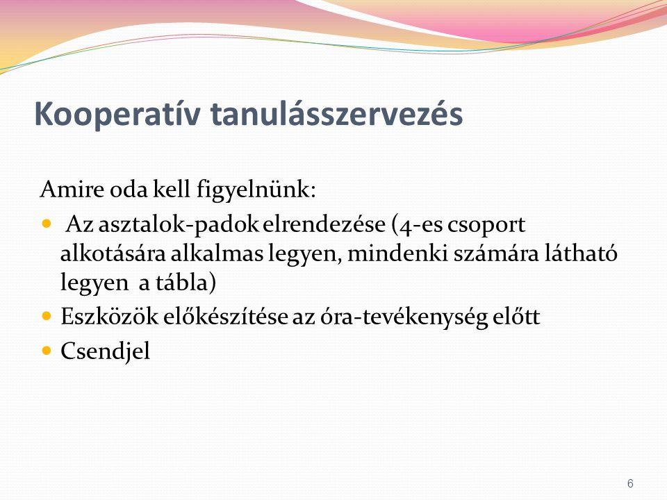 Kooperatív tanulásszervezés Amire oda kell figyelnünk:  Az asztalok-padok elrendezése (4-es csoport alkotására alkalmas legyen, mindenki számára láth