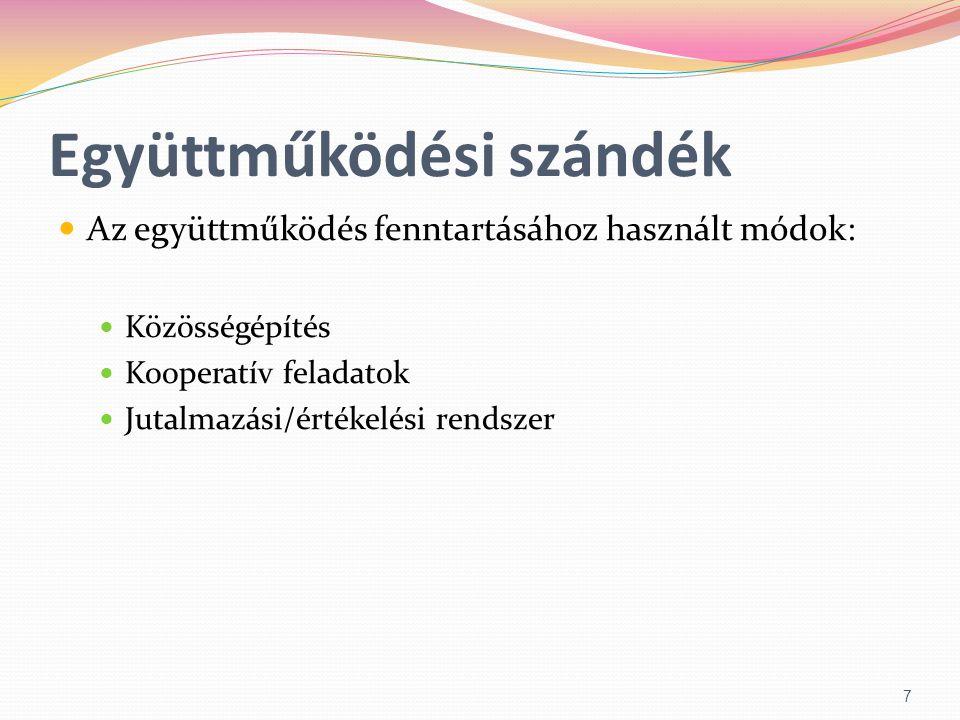 Együttműködési szándék  Az együttműködés fenntartásához használt módok:  Közösségépítés  Kooperatív feladatok  Jutalmazási/értékelési rendszer 7