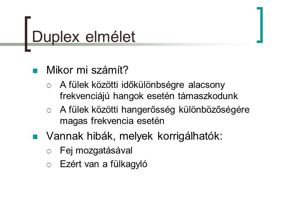 Duplex elmélet  Mikor mi számít.