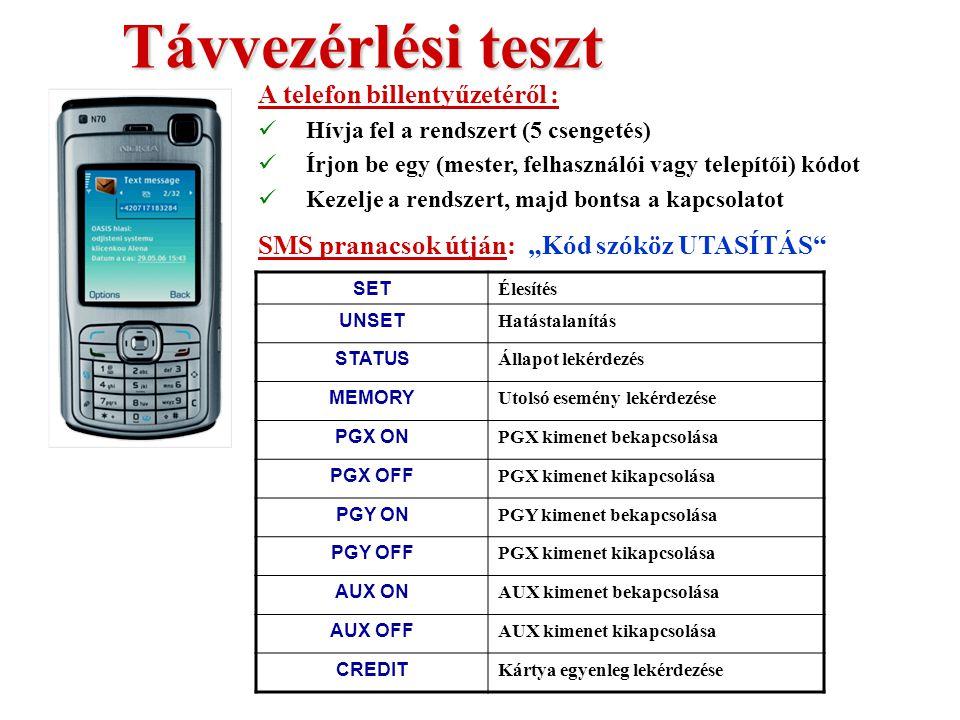 Kommunikátor teszt Mindkét gomb Pánik Pánik riasztási SMS Eredmény:  Működési teszt  SIM kártya számának ismerete