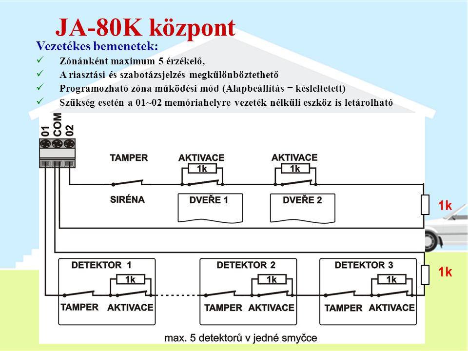 A JA-80K központ Főbb jellemzők:  Készenléti akkumulátor 1.3Ah vagy 2.6Ah  Nyugalmi áramfelvétel 50 mA  2 vezetékes bemenet (01 és 02) - programozh