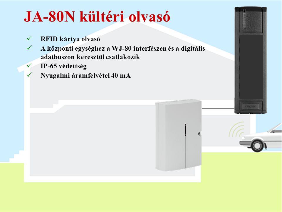 JA-80H kültéri kezelőegység  Beépített RFID olvasó  A központi egységhez a WJ-80 interfészen és a digitális adatbuszon kersztül csatlakozik  Ajtócs