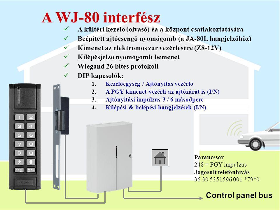 JA-80N kültéri olvasó  RFID kártya olvasó  A központi egységhez a WJ-80 interfészen és a digitális adatbuszon keresztül csatlakozik  IP-65 védettsé
