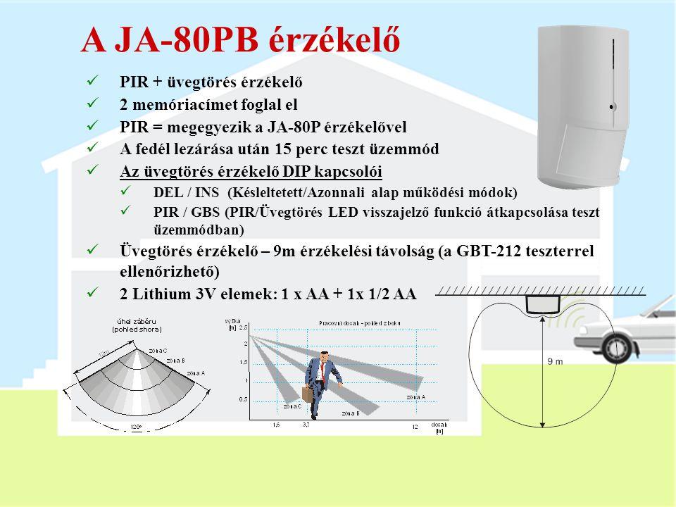 A JA-80P érzékelő  PIR érzékelő  Vezetékes zónabemenet (a PIR-rel azonos működési módban)  A fedél lezárása után 15 perc teszt üzemmód  DIP kapcso