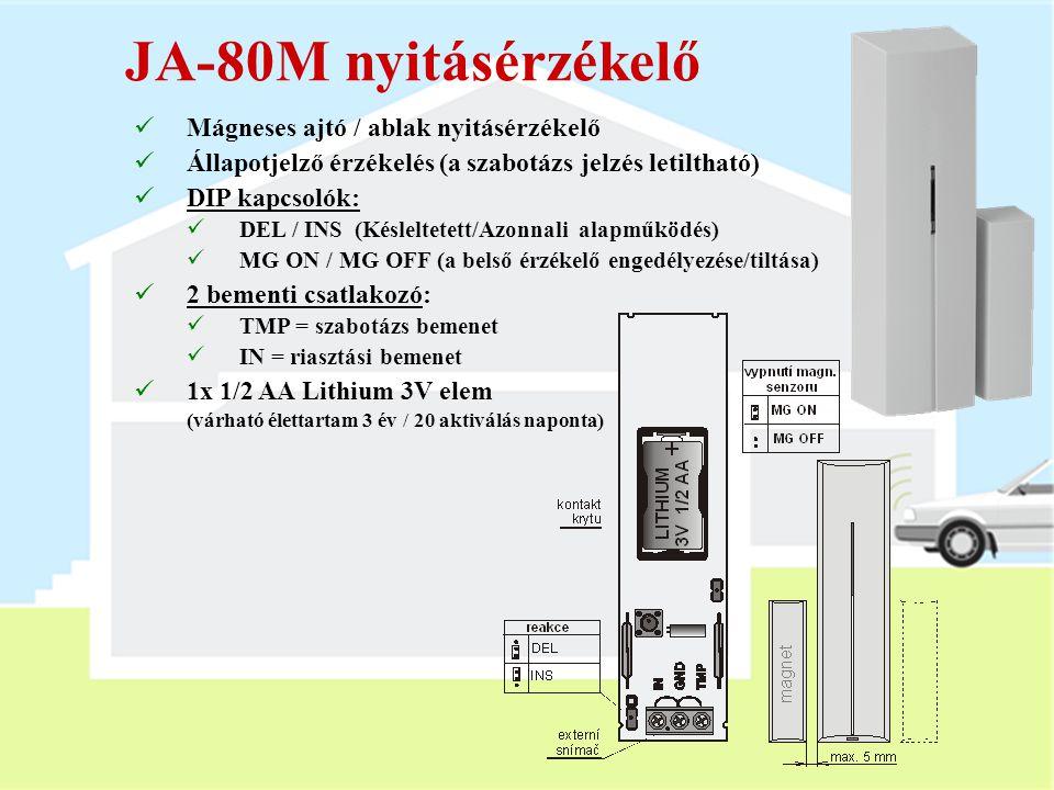 A JA-80PB érzékelő  PIR + üvegtörés érzékelő  2 memóriacímet foglal el  PIR = megegyezik a JA-80P érzékelővel  A fedél lezárása után 15 perc teszt