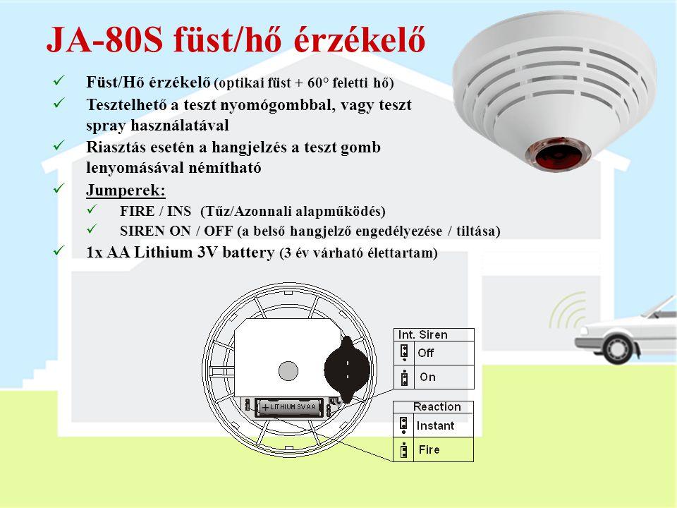 JA-80M nyitásérzékelő  Mágneses ajtó / ablak nyitásérzékelő  Állapotjelző érzékelés (a szabotázs jelzés letiltható)  DIP kapcsolók:  DEL / INS (Ké