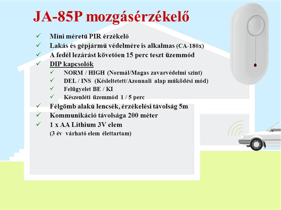 JA-80G gáz érzékelő  Robbanásveszélyes gázok érzékelésére  Öngyújtóval tesztelhető  Jumperek:  10 / 20% LEL (gáz koncentráció)  MEM ON / OFF (ria