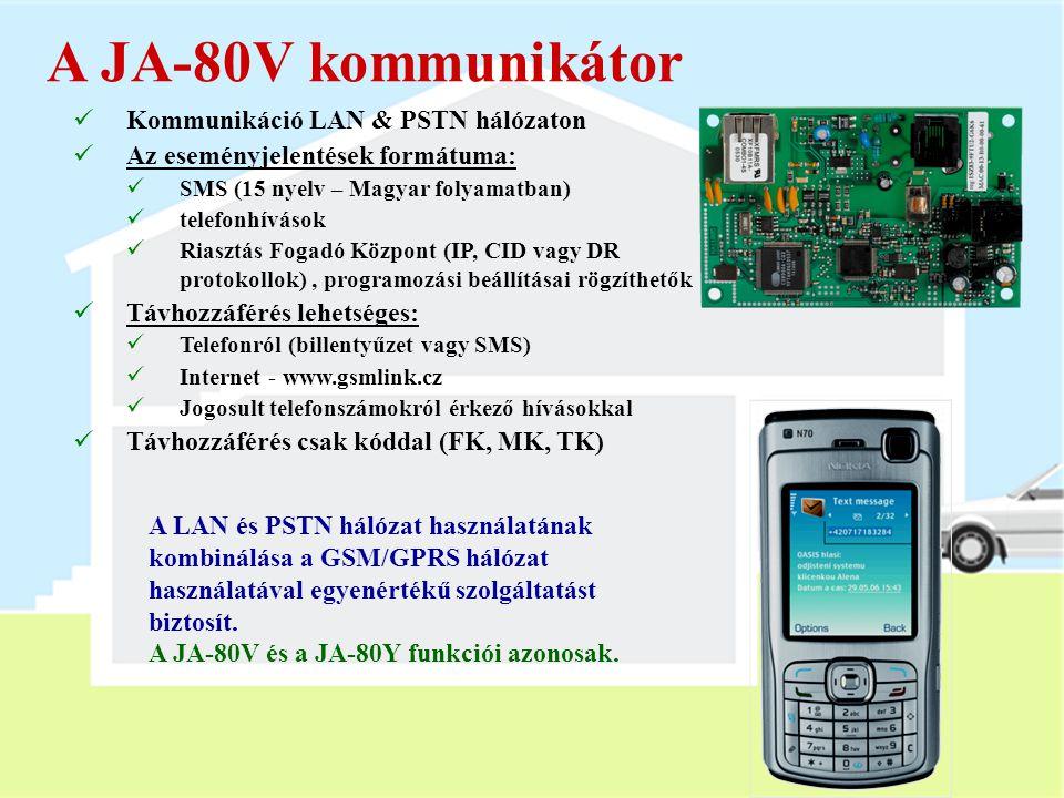 JA-80Y kommunikátor  Kommunikáció GSM/GPRS csatornán  GSM átjáró funkció  Az eseményjelentések formátuma:  SMS (15 nyelv – Magyar folyamatban)  t